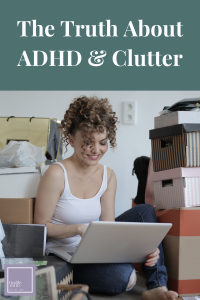 woman surrounded by clutter